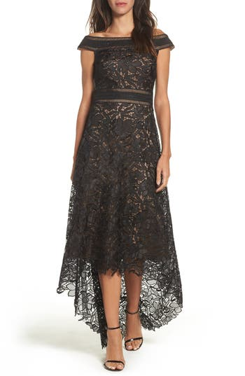 Tadashi Shoji Lace Off The Shoulder Gown, Black