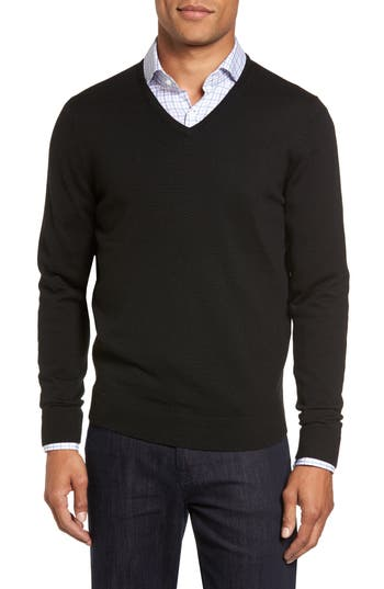 Big & Tall Nordstrom Shop V-Neck Merino Wool Sweater, Black