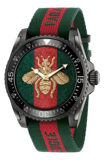 Men's Gucci Bee Nylon Strap Watch, 47Mm