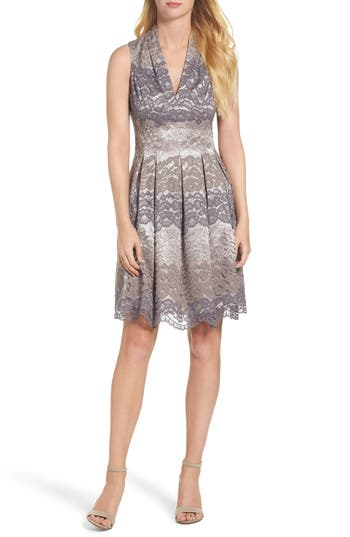 Vince Camuto Lace Fit & Flare Dress, Grey