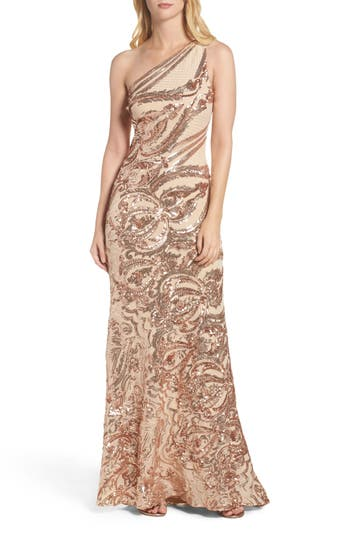 Vince Camuto Sequin One-Shoulder Gown, Pink