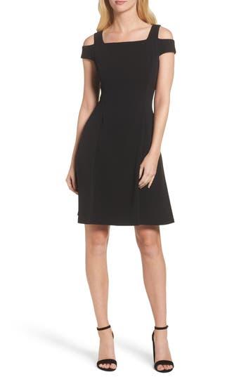 Vince Camuto Cold Shoulder Crepe Dress, Black