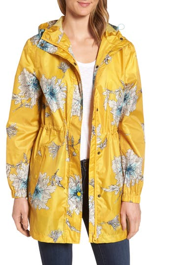 Women's Joules Right As Rain Packable Print Hooded Raincoat