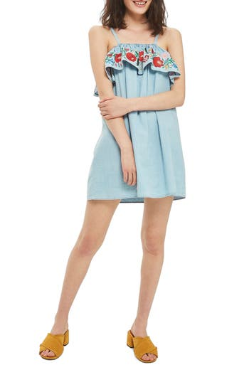 Women's Topshop Embroidered Ruffle Shift Dress, Size 6 US (fits like 2-4) - Blue