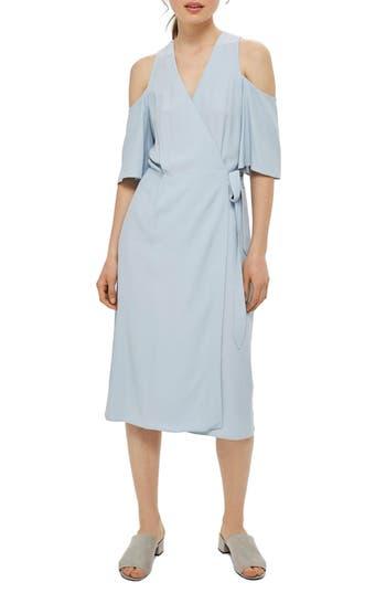 Topshop Cold Shoulder Wrap Midi Dress, US (fits like 0-2) - Blue