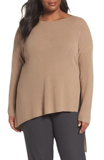 Plus Size Eileen Fisher Asymmetrical Merino Wool Pullover, Beige