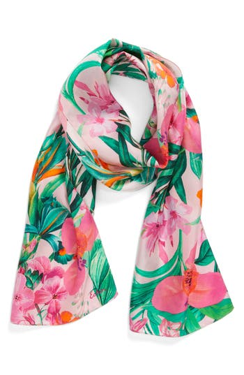 Women's Echo Tropic Floral Silk Scarf, Size One Size - Pink