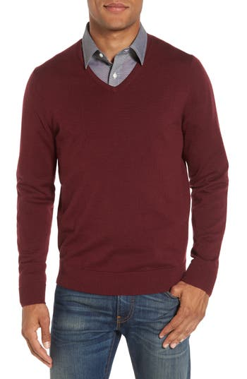 Big & Tall Nordstrom Shop V-Neck Merino Wool Sweater, Burgundy