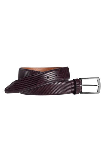 Johnston & Murphy Diagonal Embossed Leather Belt, Burgundy