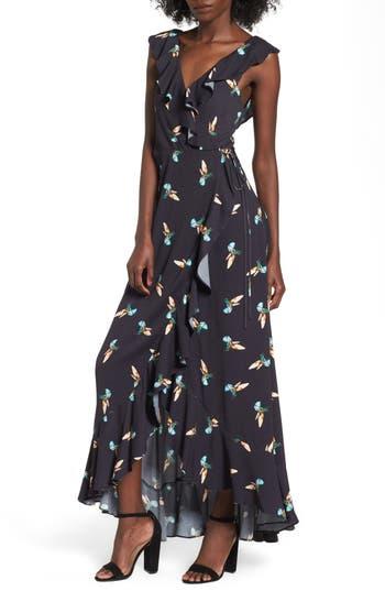 Women's Afrm Wade Wrap Maxi Dress, Size X-Small - Black