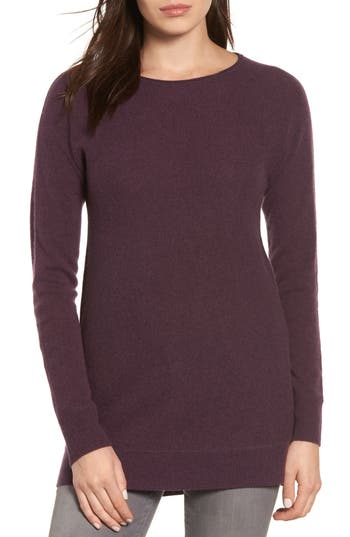 Halogen High/low Wool & Cashmere Tunic Sweater, Purple