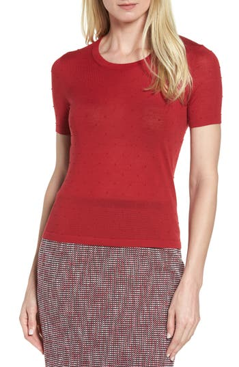 Boss Fineen Wool Dot Jacquard Sweater, Red