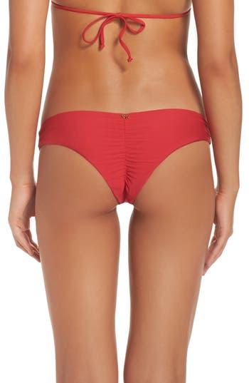 Pilyq Ruched Bikini Bottoms, Red