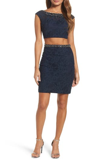MAC Duggal Embellished Two-Piece Lace Dress, Blue