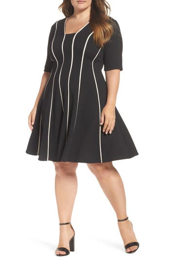 Plus Size Gabby Skye Contrast Piping Knit Fit & Flare Dress, Black