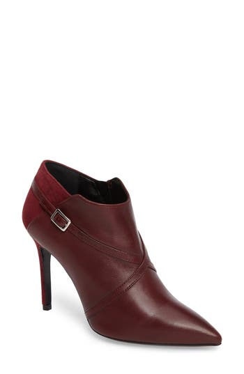 Charles David Laura Cross Strap Bootie Burgundy