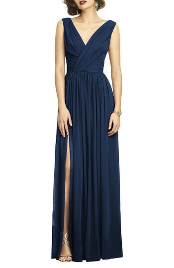 Dessy Collection Surplice Ruched Chiffon Gown, Blue