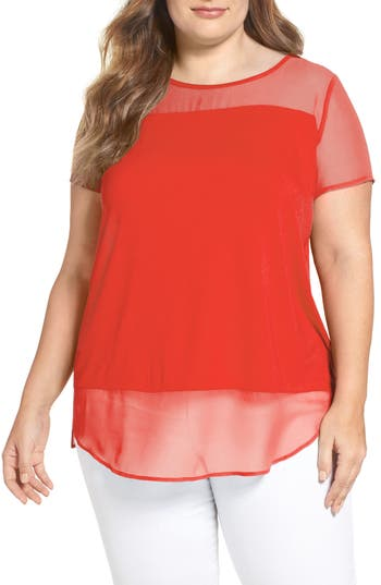 Plus Size Vince Camuto Mixed Media Top
