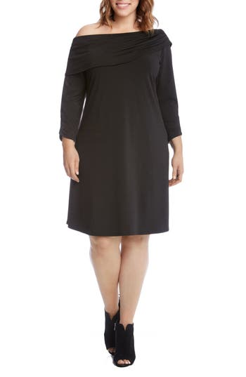 Plus Size Karen Kane Draped Boat Neck Dress, Black