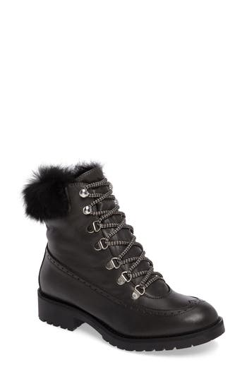 Charles David Rugby Genuine Rabbit Fur Lace-Up Boot Grey