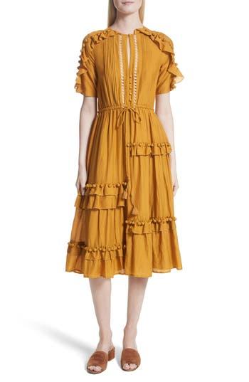 Sea Cotton & Silk Staircase Ruffle Dress, Yellow