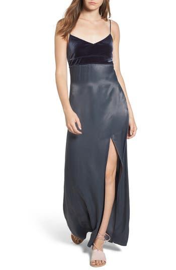 Leith Velvet & Satin Maxi Slipdress, Blue