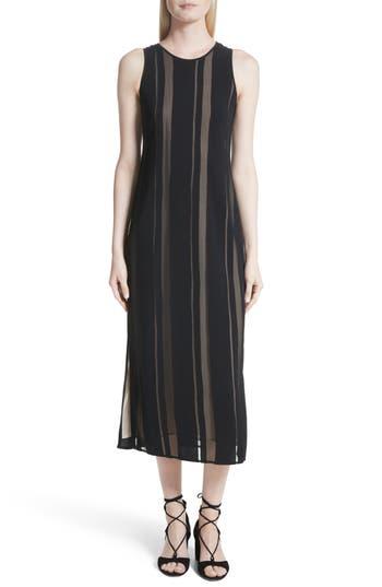 Elizabeth And James Talla Sheer Stripe Midi Dress, Black