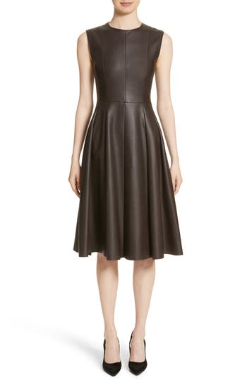 Adam Lippes Sculpted Leather Dress, Brown