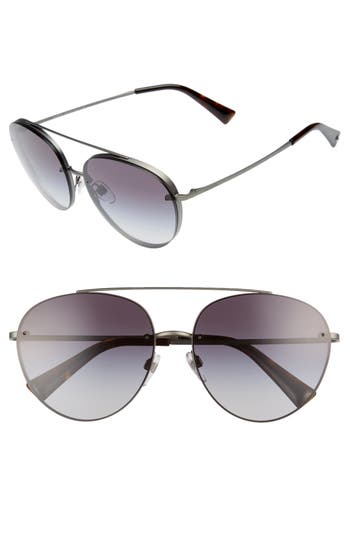 Women's Valentino 58Mm Gradient Aviator Sunglasses - Grey Gradient