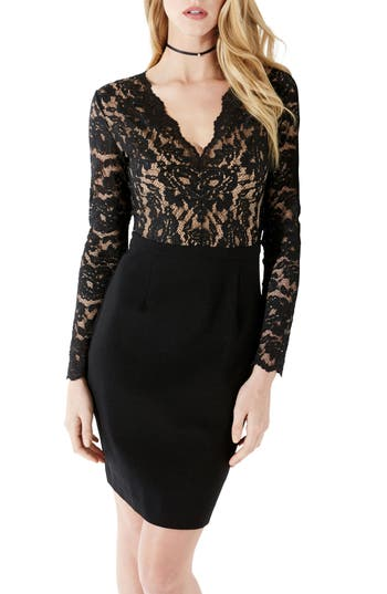 Karen Kane Becca Lace & Knit Sheath Dress, Black