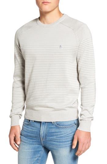 Men's Original Penguin Engineered Stripe Sweater, Size Large - Grey