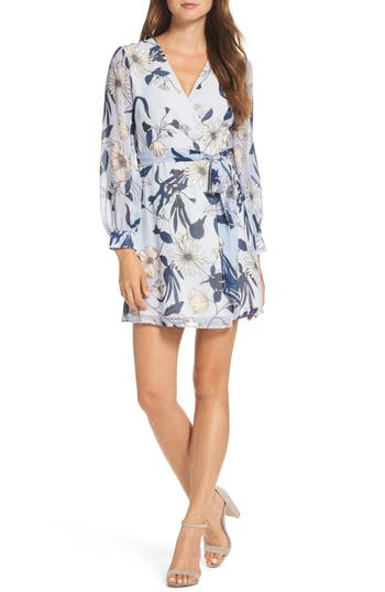 Women's Bardot Poppy Wrap Dress, Size Medium - Blue