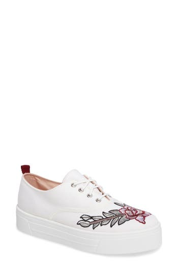Topshop College Embroidered Flatform Sneaker - White