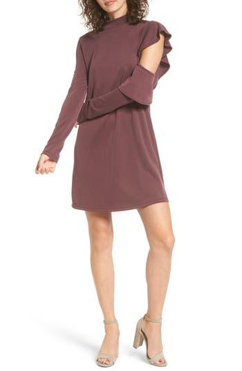 Everly Side Ruffle Knit Dress, Purple