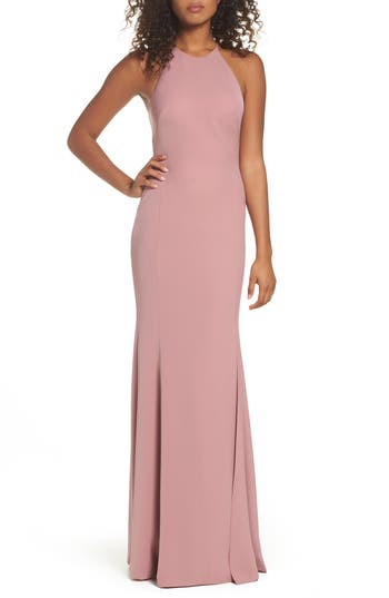 Watters Mical Bellessa Stretch Crepe Gown, Pink
