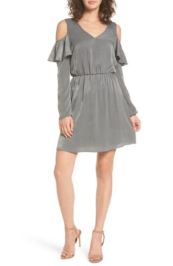 Everly Ruffle Satin Cold Shoulder Dress, Green