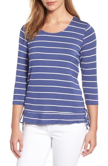Women's Bobeau Stripe Side Tie Tee, Size X-Small - Blue