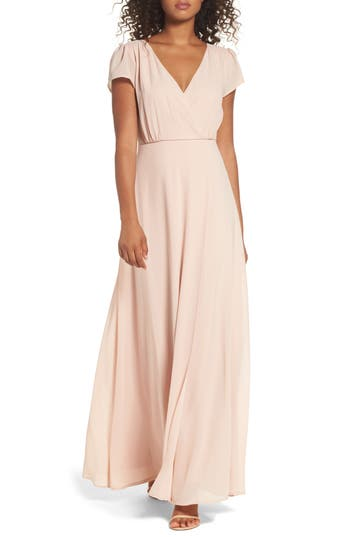 Lulus Lace-Up Back Chiffon Gown, Pink