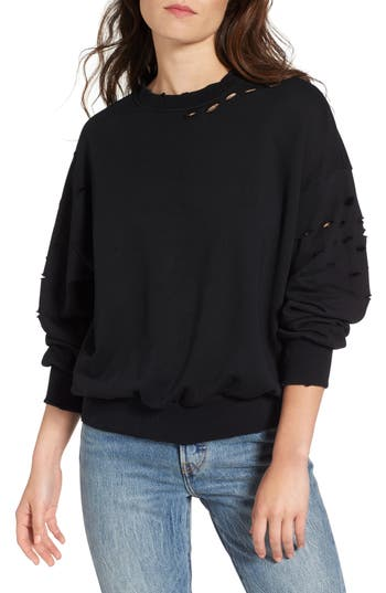 Women's Soprano Holey Sweatshirt, Size X-Small - Black