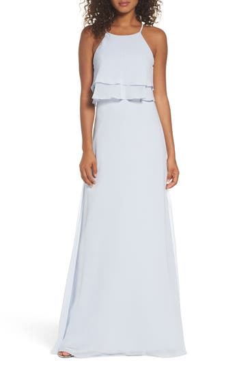 Jenny Yoo Charlie Ruffle Bodice Gown, Blue