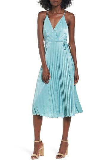 Lush Pleated Satin Dress, Blue