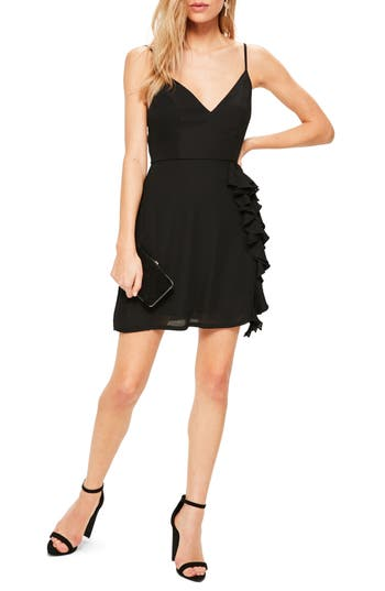 Missguided Ruffle Crepe Sheath Dress, US / 6 UK - Black