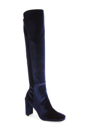 Stuart Weitzman Jackson Stretch Velvet Knee High Boot, Blue