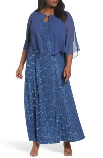 Plus Size Alex Evenings V-Neck Lace Gown With Capelet Overlay, Blue