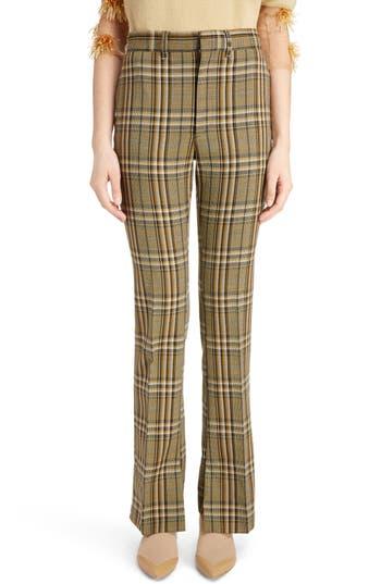 Toga Flare Leg Check Wool Pants, 6 FR - Beige