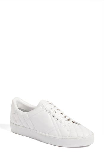 Burberry Check Quilted Leather Sneaker, White