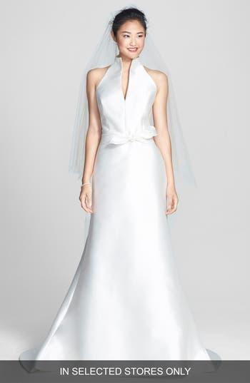 Jesus Peiro Mikado Satin Halter Fluted Dress