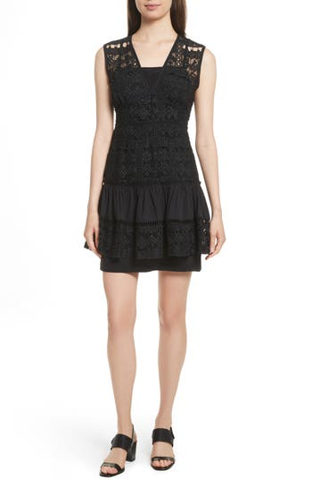 Tracy Reese Tiered Minidress, Black