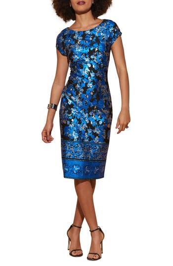 Eci Cap Sleeve Scuba Sheath Dress, Blue