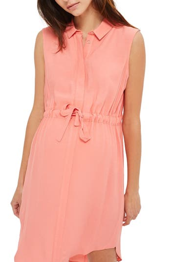 Topshop Drawstring Waist Maternity Dress, US (fits like 0-2) - Coral